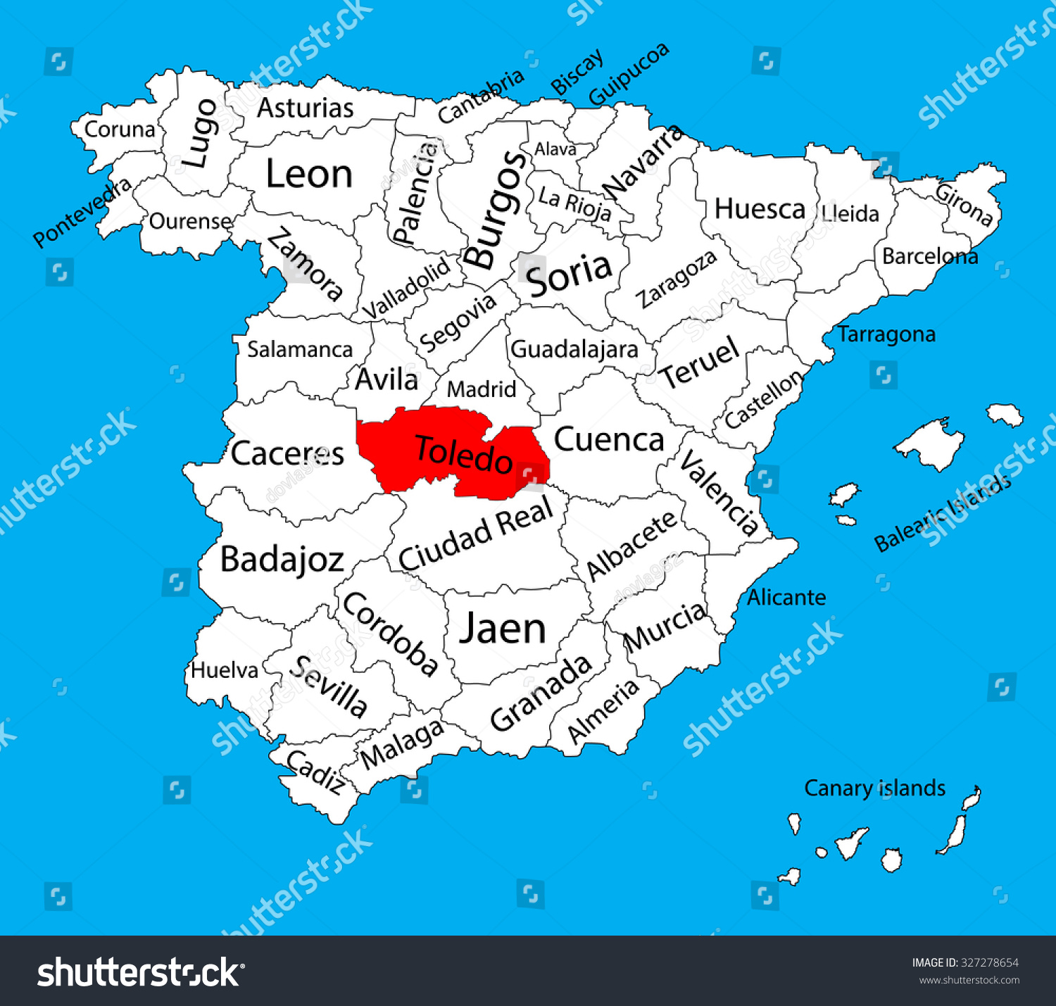 Toledo Map Spain Province Vector Map Stock Vector (Royalty Free