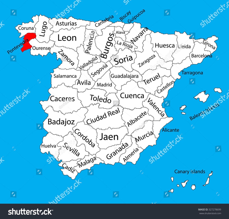 Map Of Spain Vector Free.Pontevedra Map Spain Province Vector Stock Photo 327278699