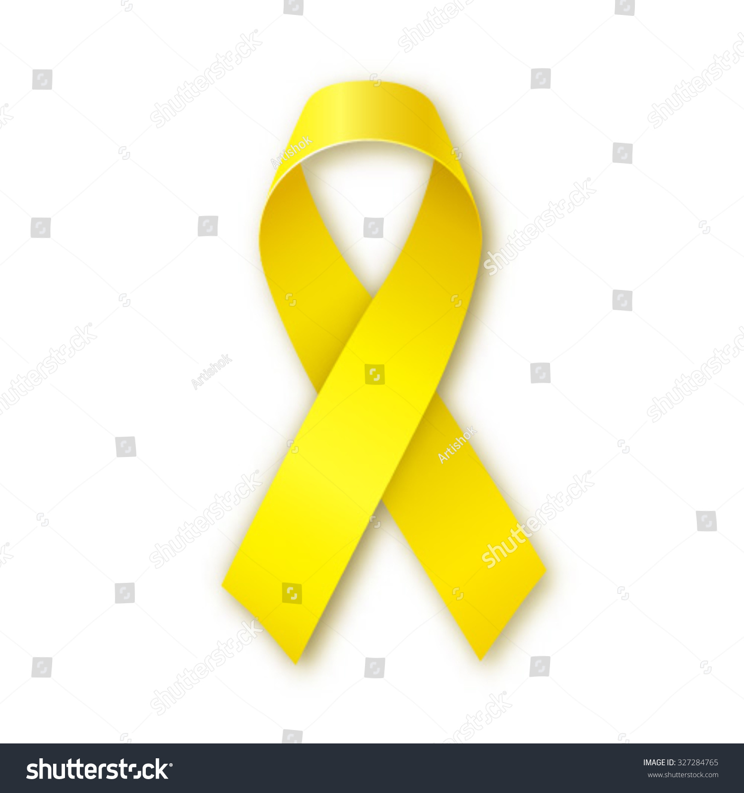 Yellow awareness ribbon on white background Bone cancer and troops support symbol Vector illustration