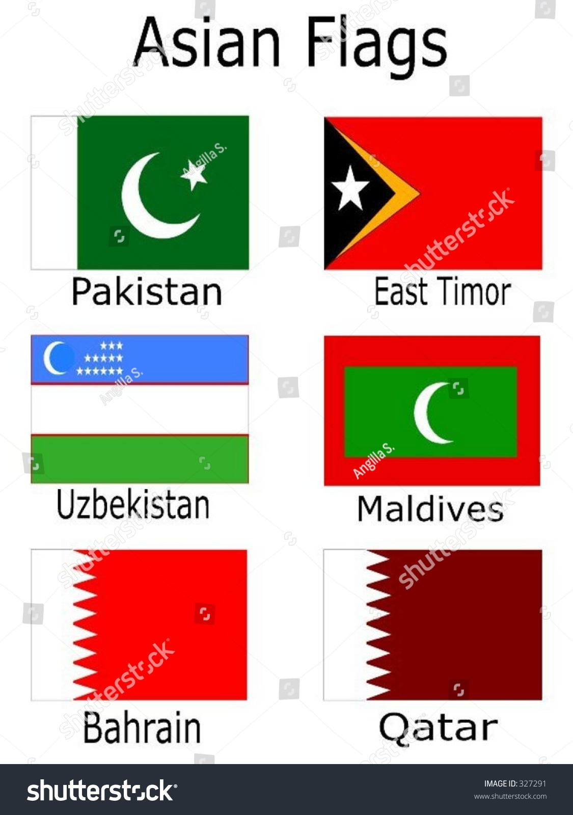 Asian Flags Pakistan East Timor Uzbekistan Stock Vector