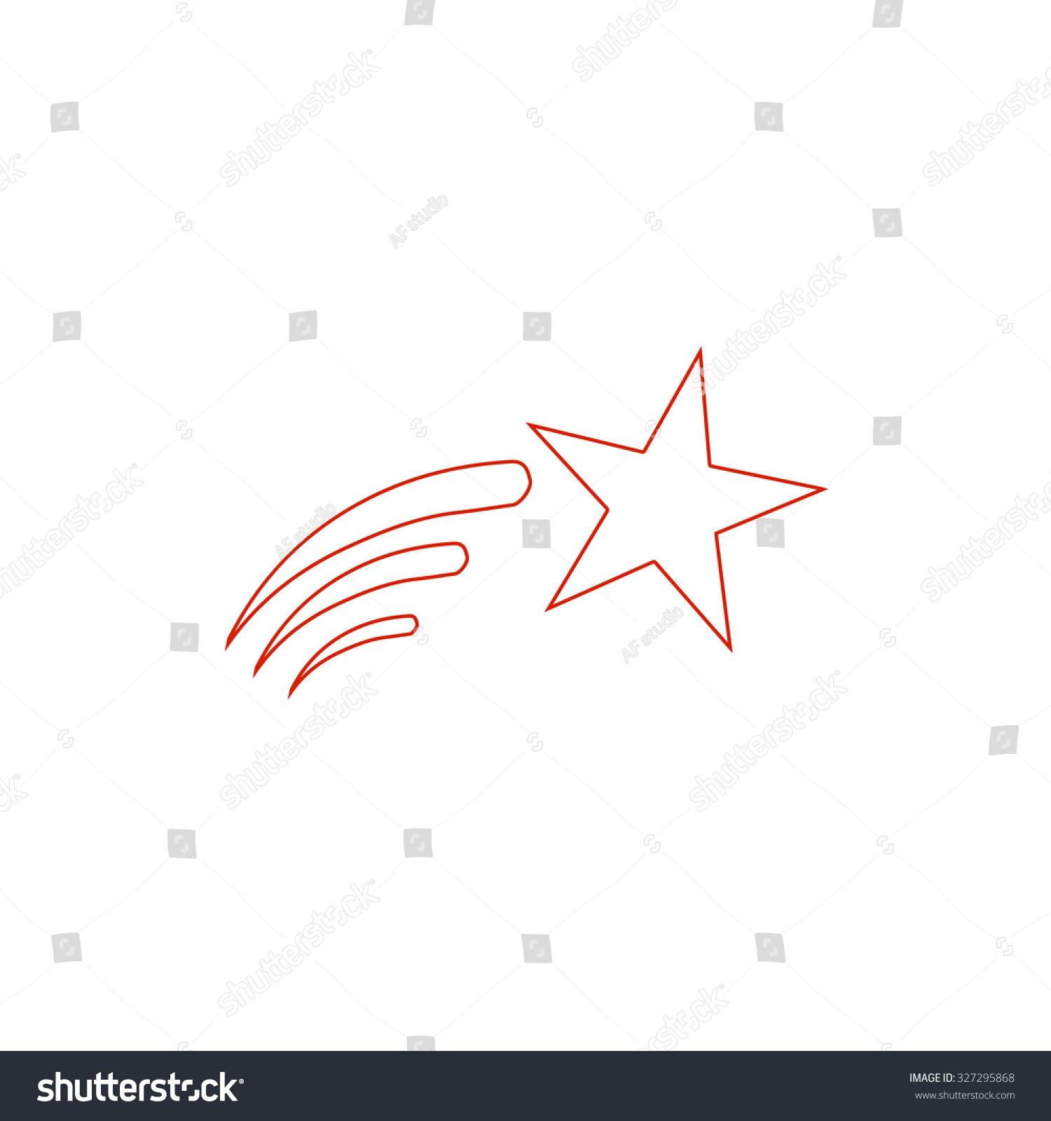 Shooting Star Red Outline Illustration Pictogram Stock Illustration