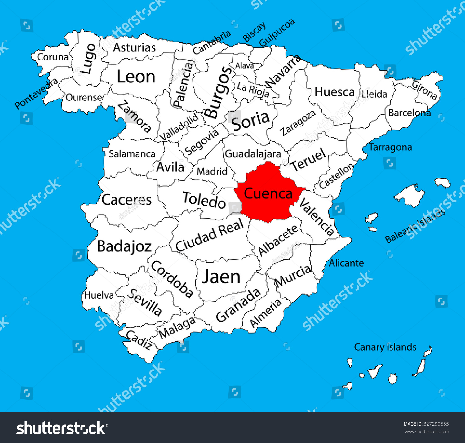Cuenca map spain province vector map vectores en stock 327299555 cuenca map spain province vector map high detailed vector map of spain with separated gumiabroncs Choice Image