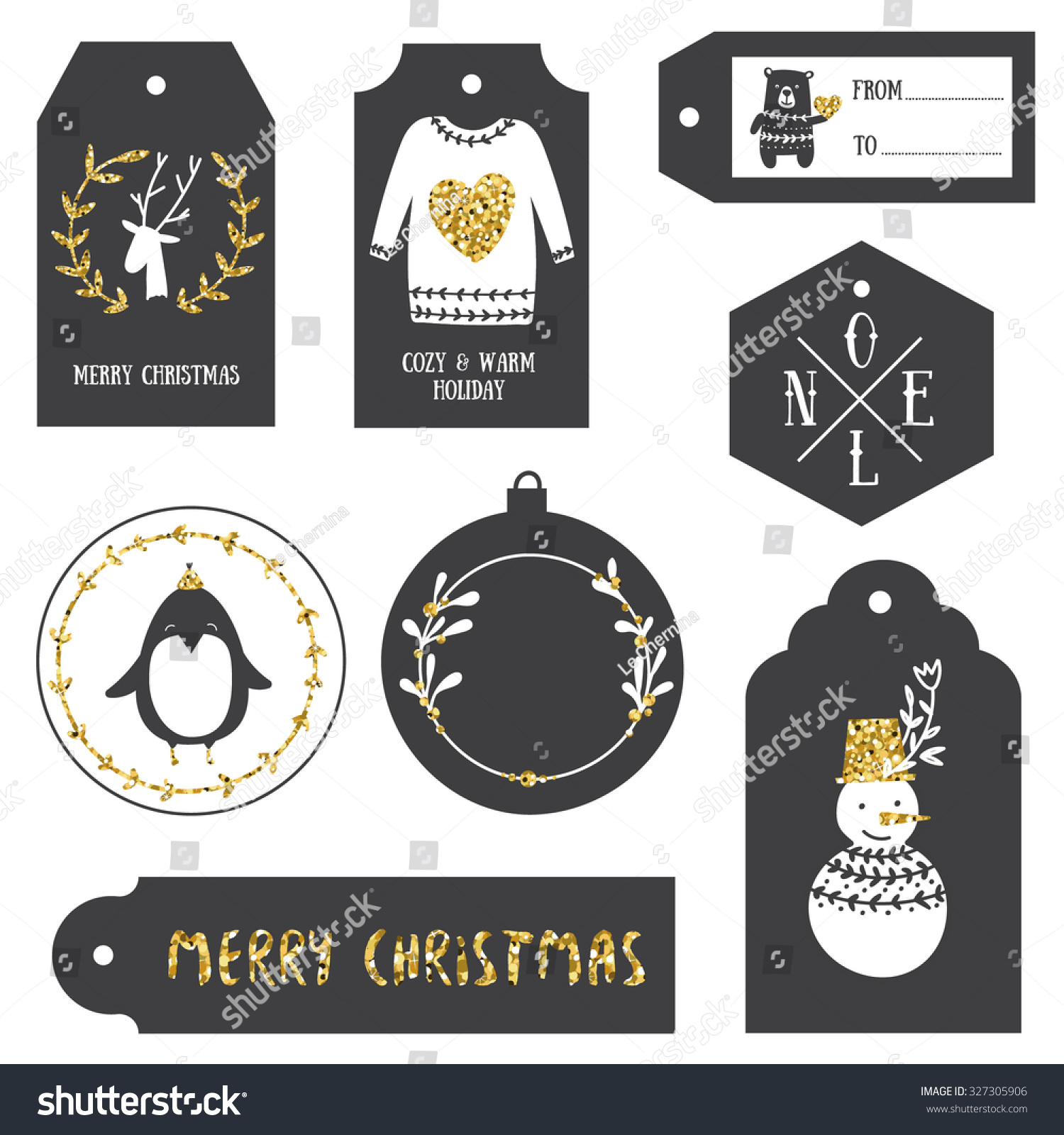 Royalty-free Vintage Christmas gift tags. Black and… #327305906 ...