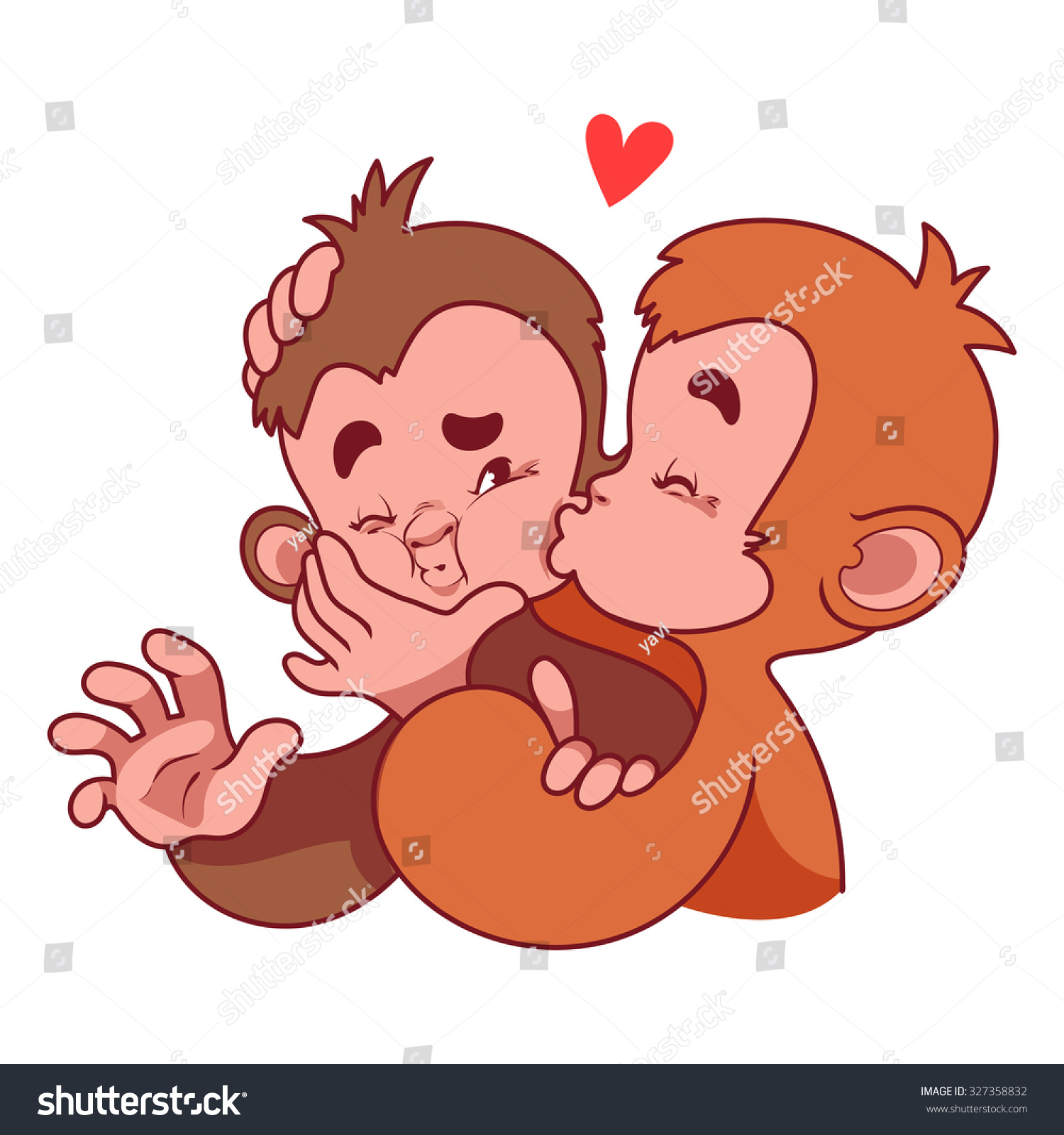 Two monkeys hugging drawing - photo#4
