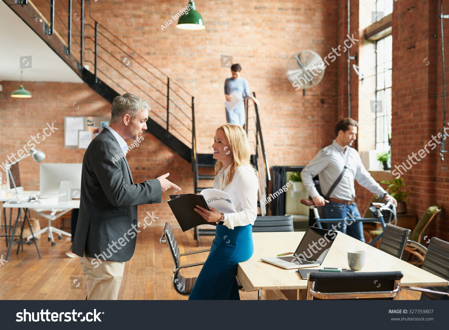 trendy office. Busy Trendy Office With Business People Achieving Success