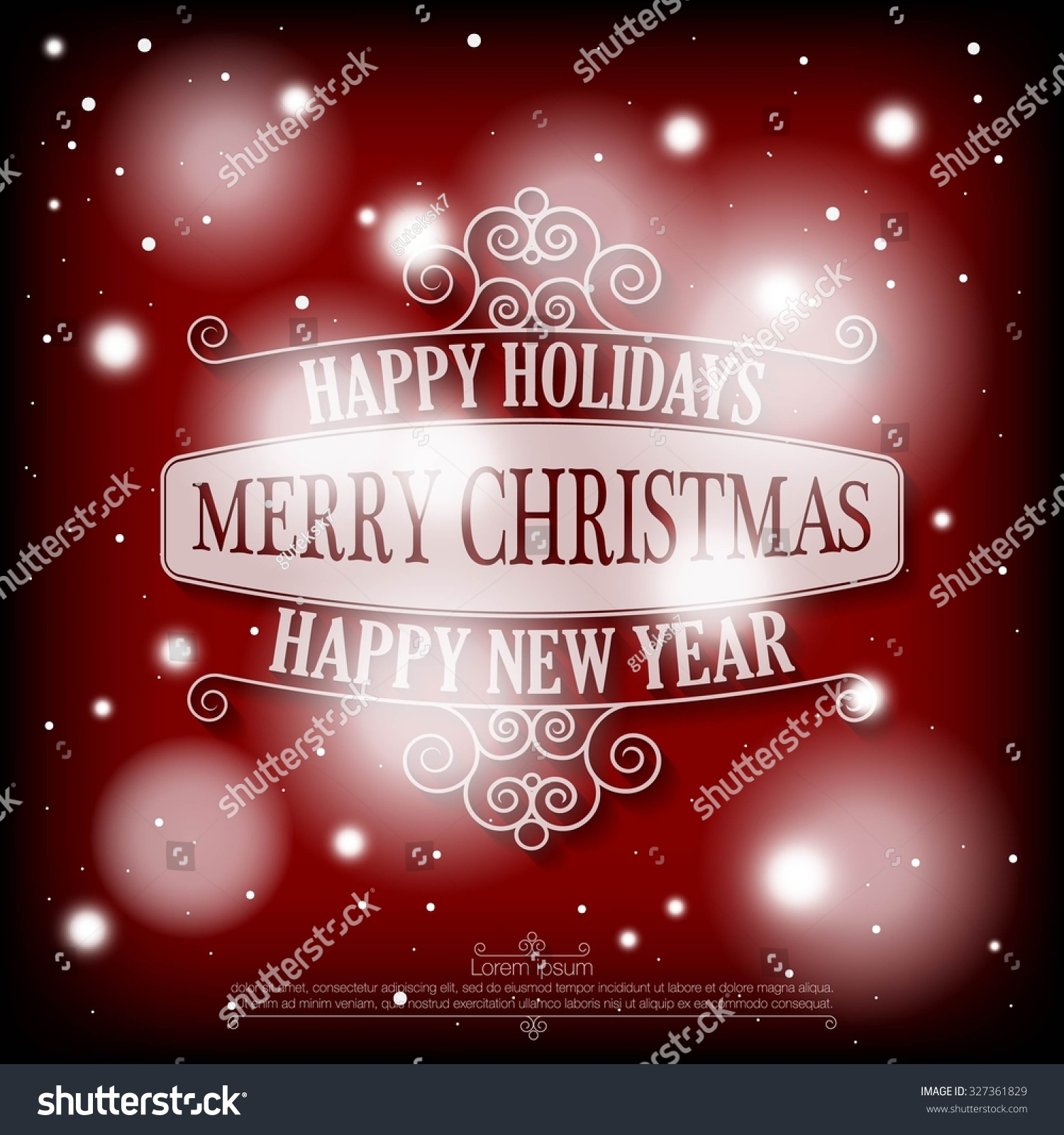 happy holidays merry christmas and a happy new year wishes card on snowy dramatic red