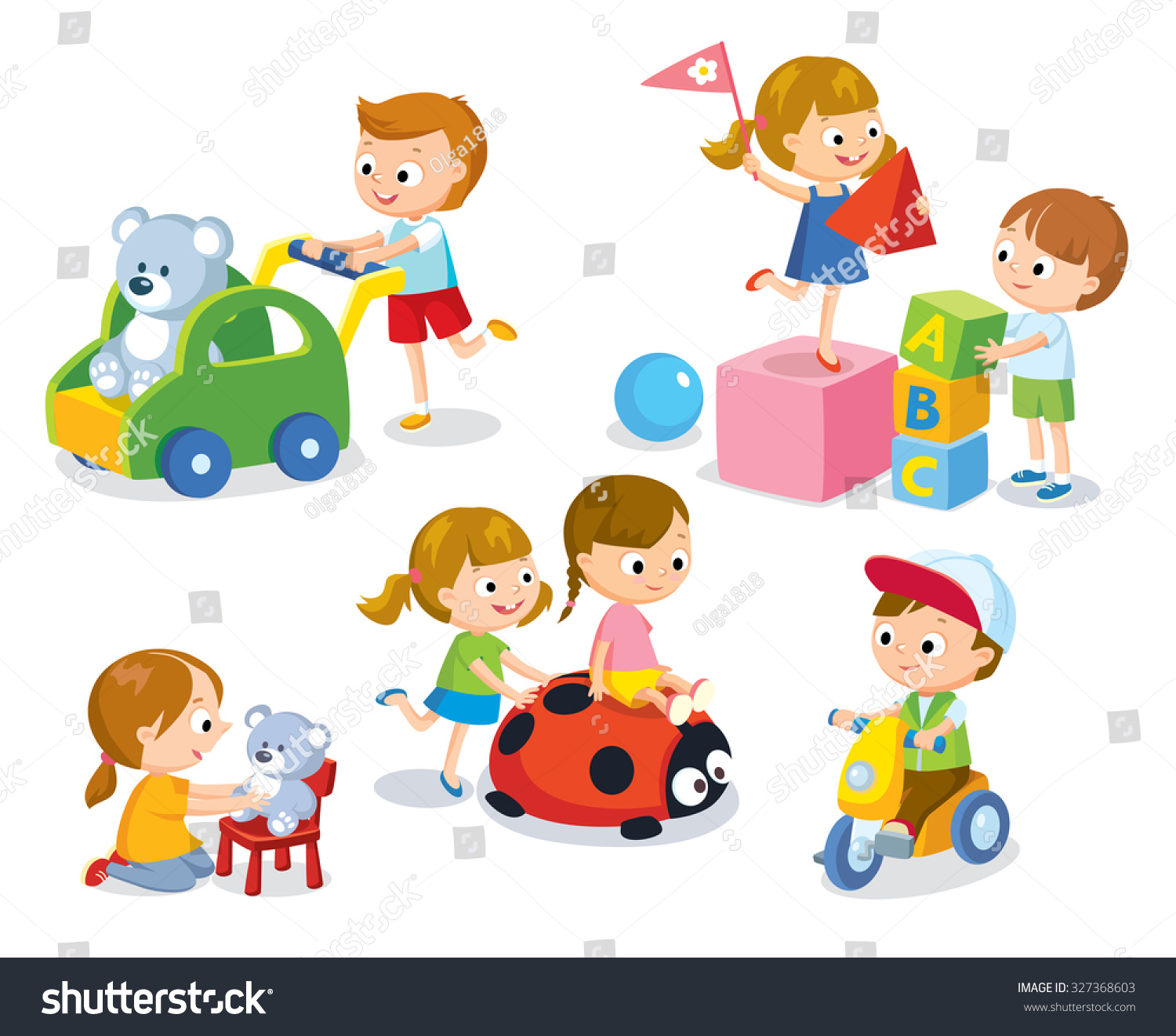 Cute Children Kindergarten Playing Toys Stock Vector Royalty Free