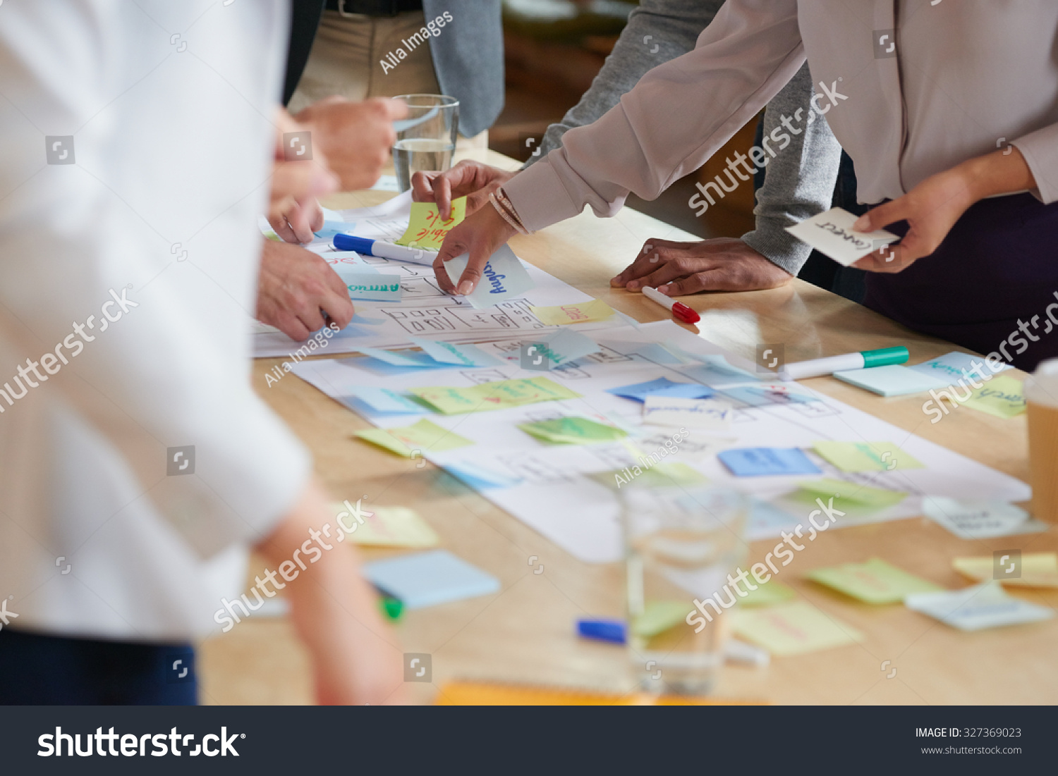 Brainstorming Session Post Notes On Desk Stock Photo ...