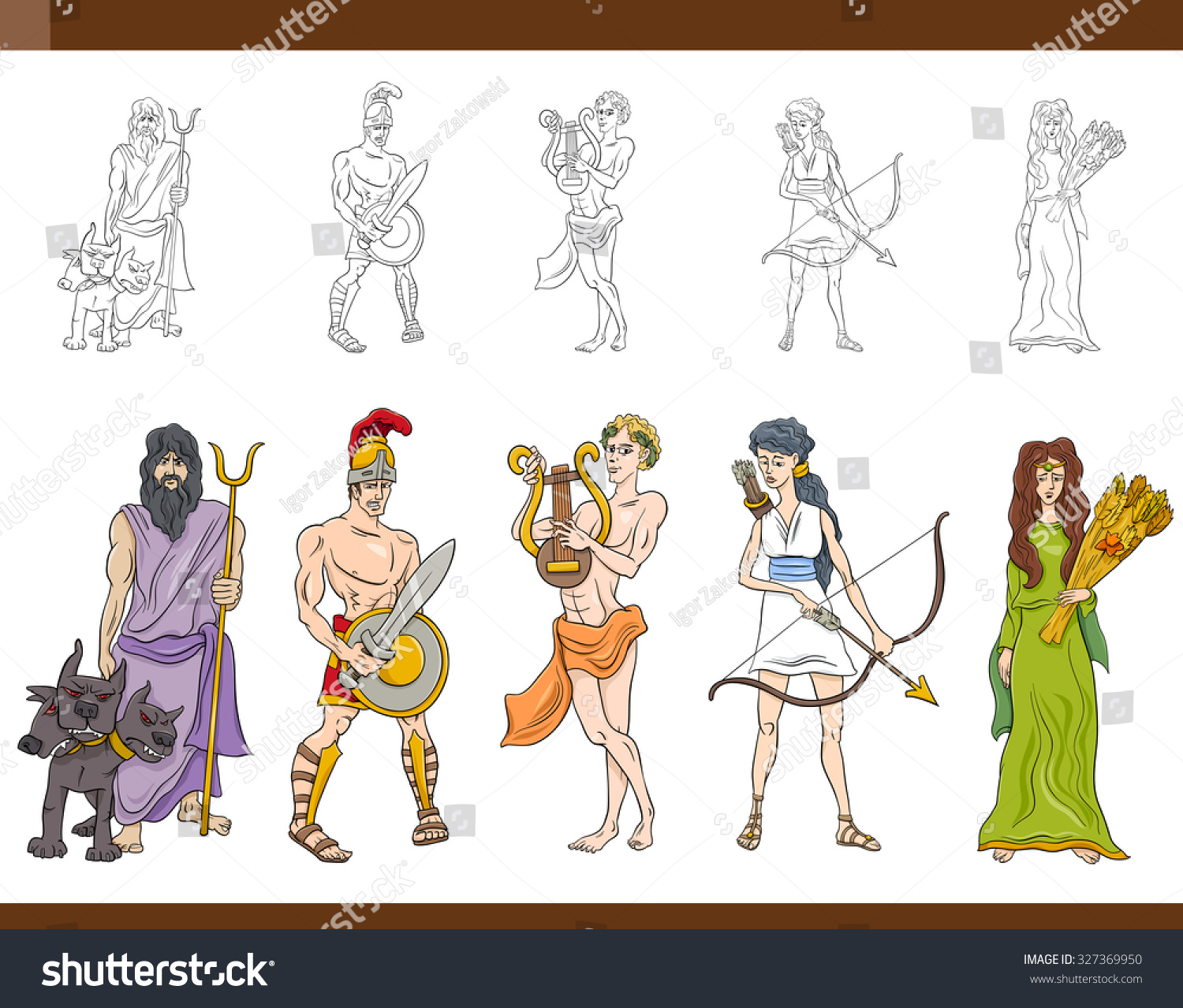 Cartoon Illustration Mythological Greek Gods Goddesses Stock ...