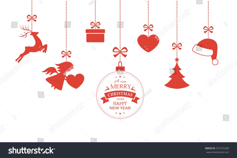 Various Hanging Christmas Ornaments Such As Christmas Bauble, Santa Hat,  Reindeer, Angel,