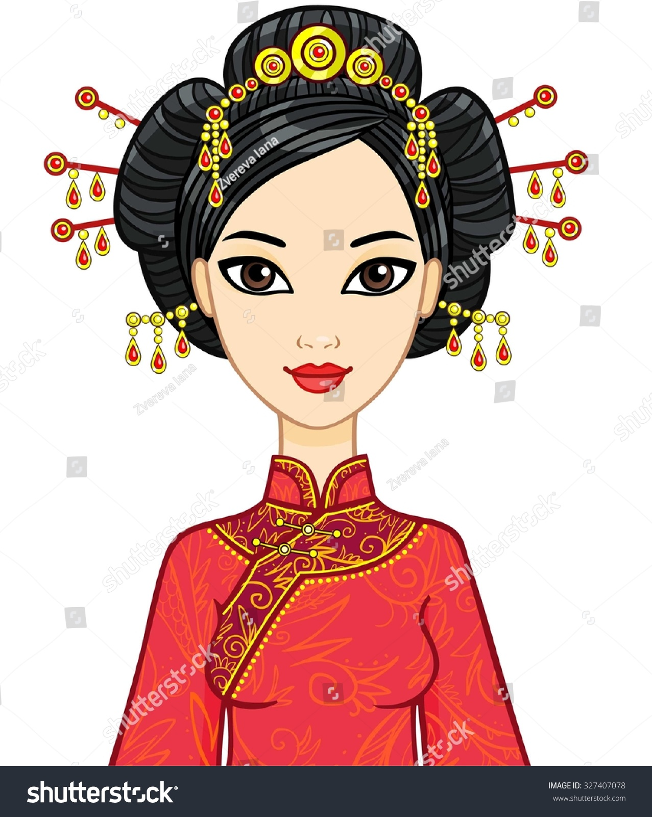 Animation Portrait Of The Chinese Girl In Traditional Clothes With An Ancient Hairstyle