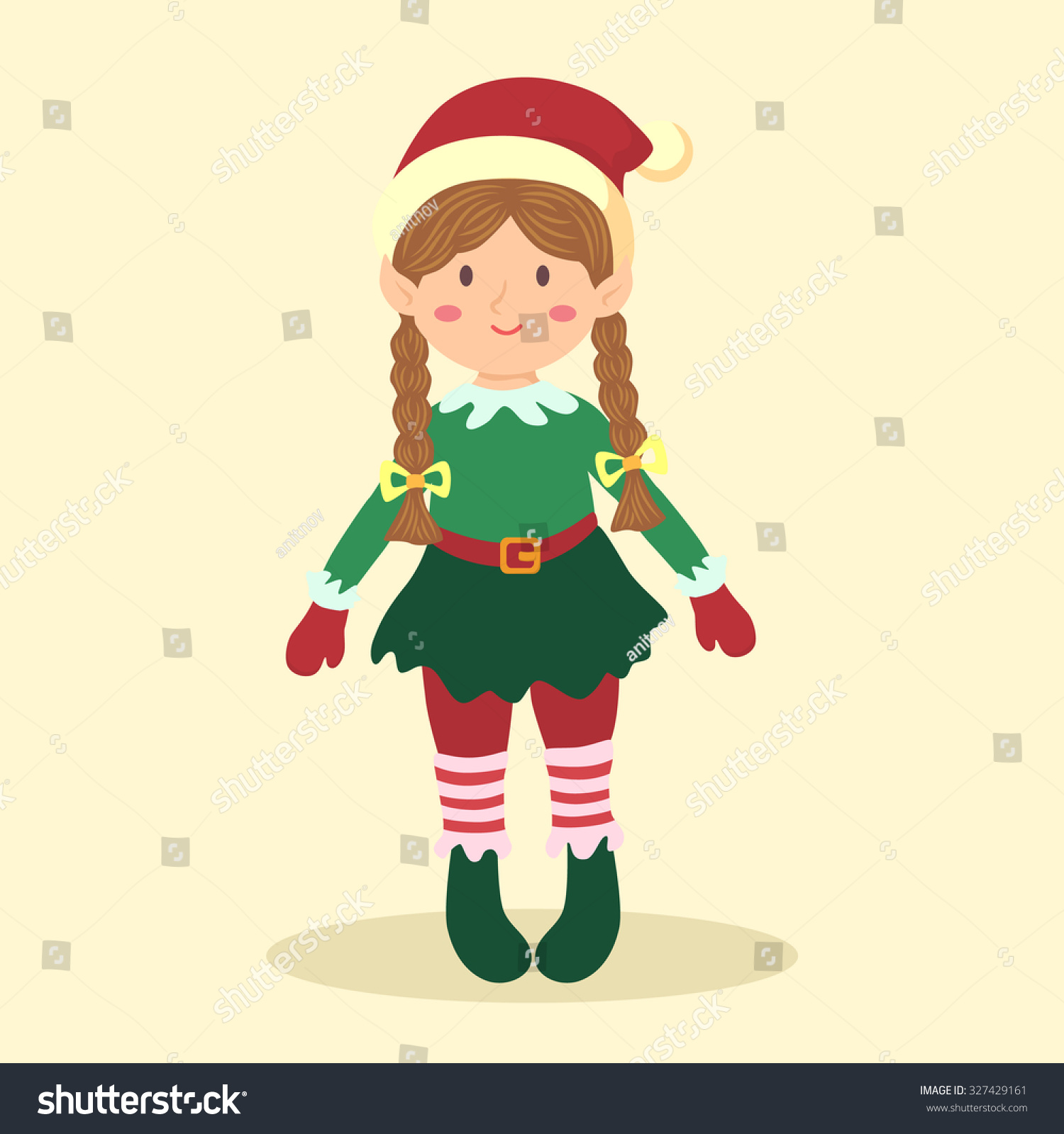 Christmas Elf Braid Girl Illustration Christmas Stock Vector ...
