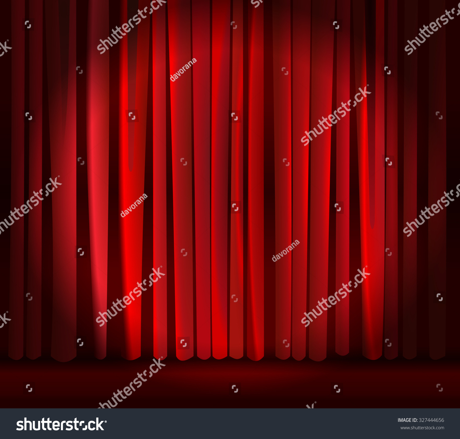 Stage curtains spotlight - Spotlight On Empty Stage Curtain Backdrop Red Closed Curtain With Light Spots In A Theater