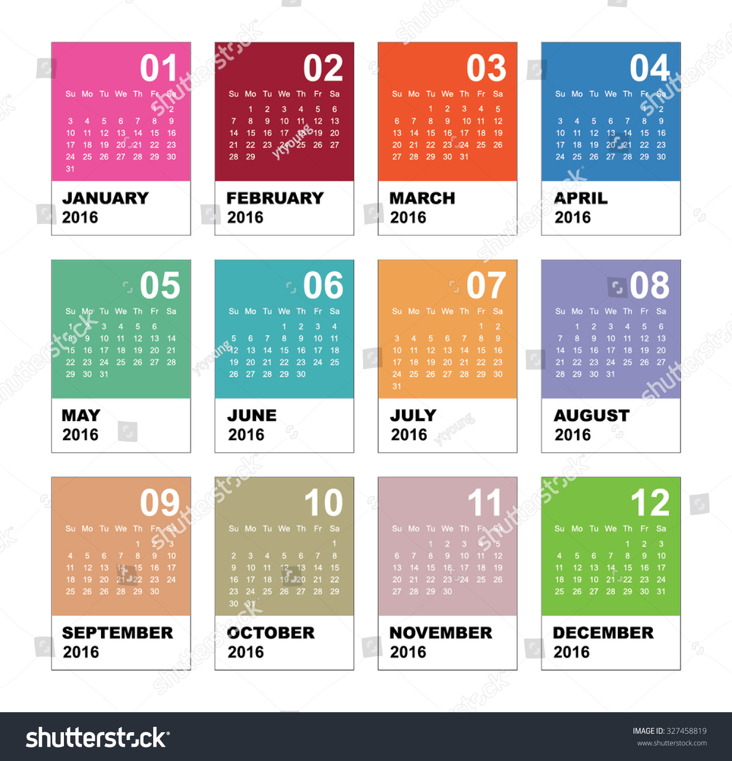 Minimalist Calendar Design : Calendar simple vector template stock