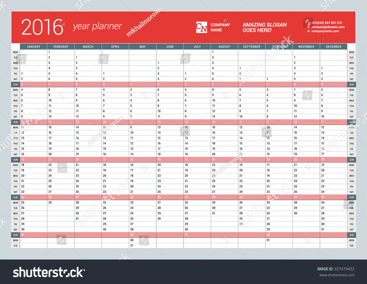 Planner Style Calendar Template : Yearly wall calendar planner template stock vector