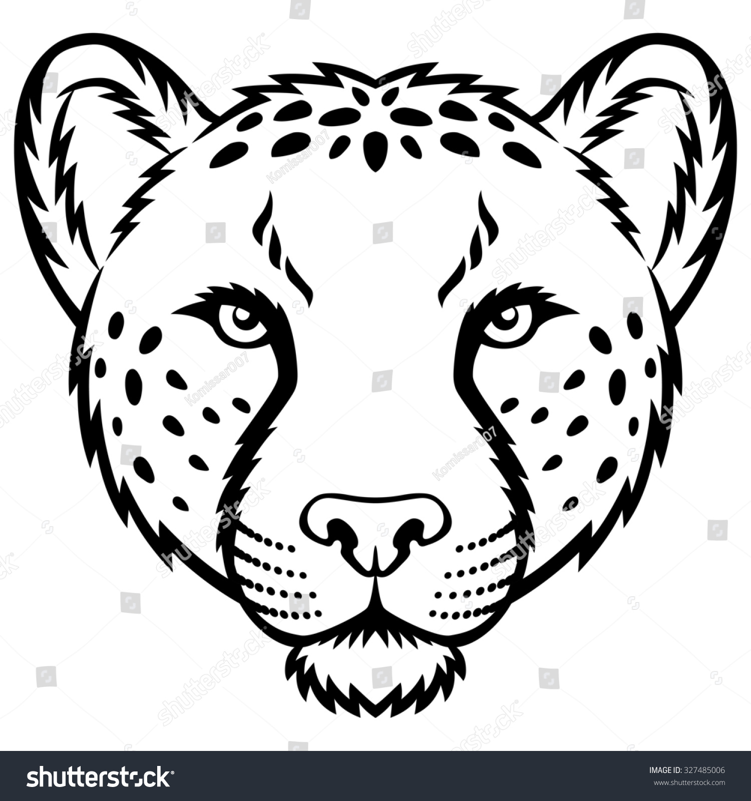 cheetah face mask template - cheetah head logo this illustration ideal stock