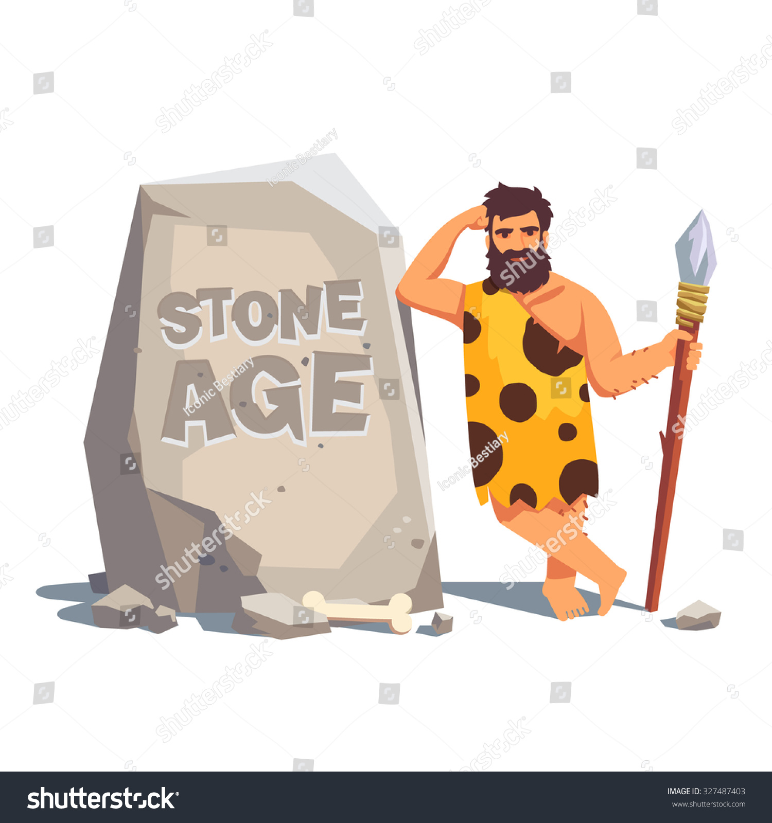 Caveman Style : Stone age engraving on big tablet stock vector