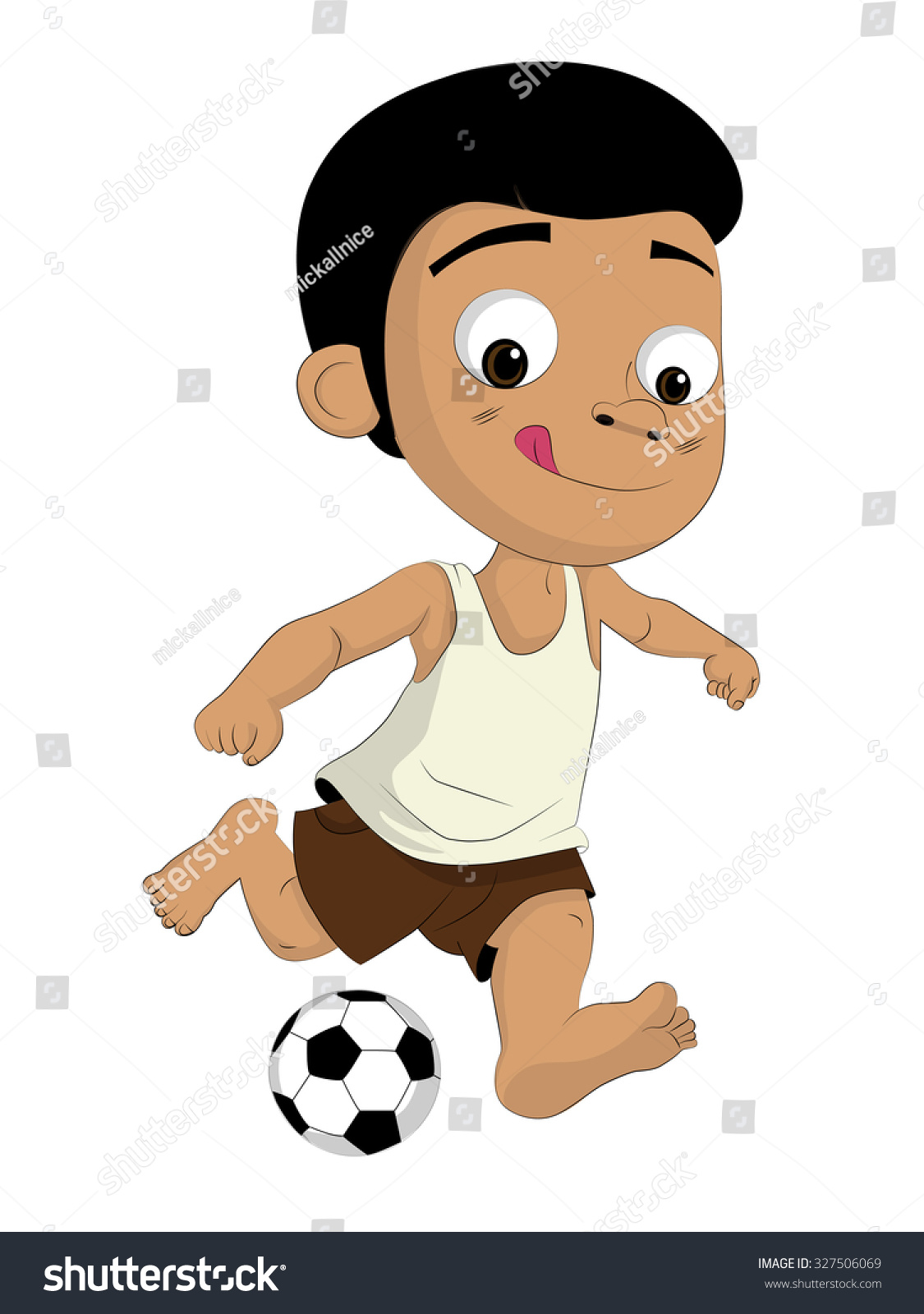kids kicking football poor he loves stock vector (royalty free