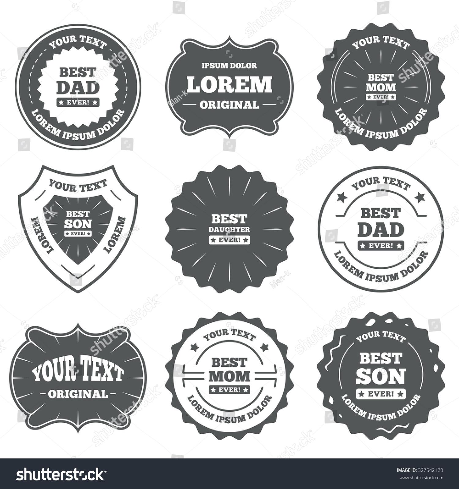 Vintage Emblems Labels Best Mom Dad Stock Vector Royalty Free