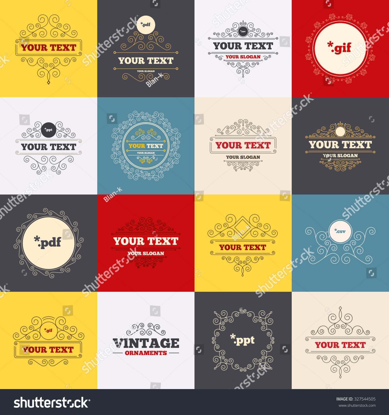 vintage frames labels document icons file stock vector 327544505, Powerpoint templates