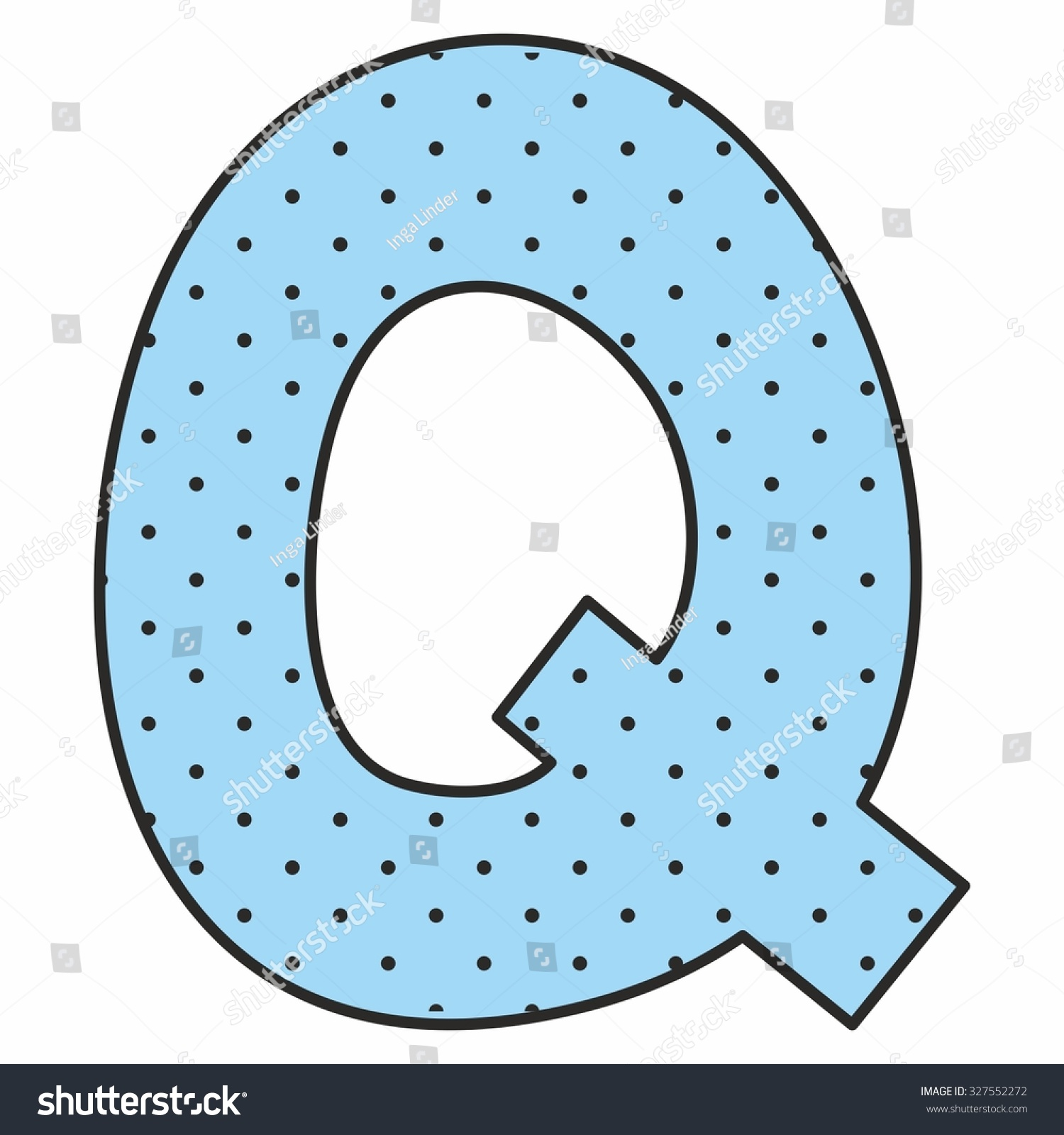 Q blue vector alphabet letter with polka dots isolated on white background