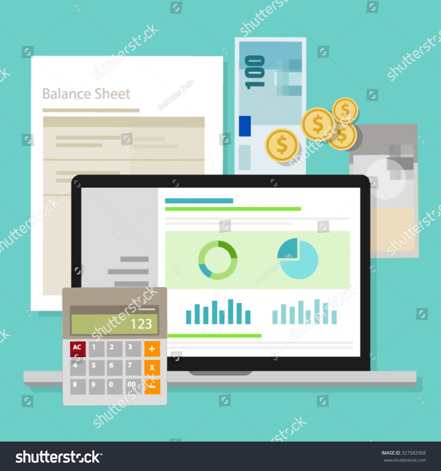 Accounting software balance sheet money calculator Vector image software