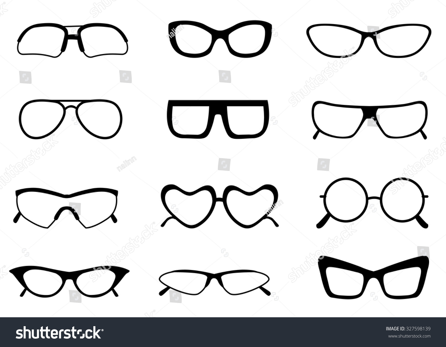 Black Different Shaped Spectacle Glasses Frame Stock Illustration ...
