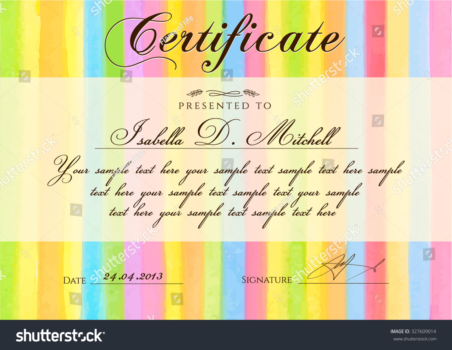 Certificate Diploma of completion with colorful stripy stripes border line pattern background Vector watercolor with rainbow texture for Certificate of Achievement coupon award frame winner