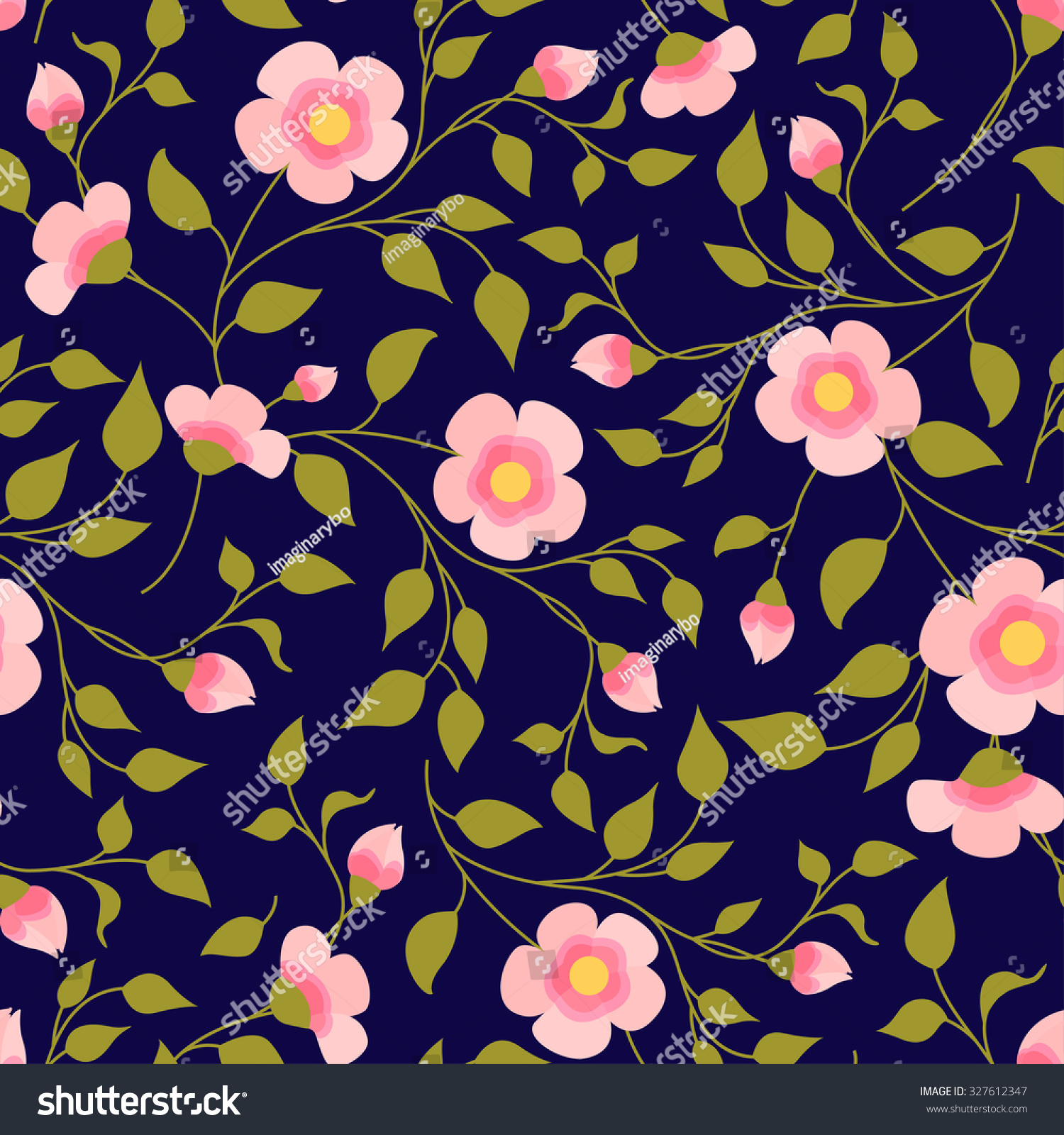 Pink Forgetmenot Daisy Flowers Seamless Pattern Stock Vector
