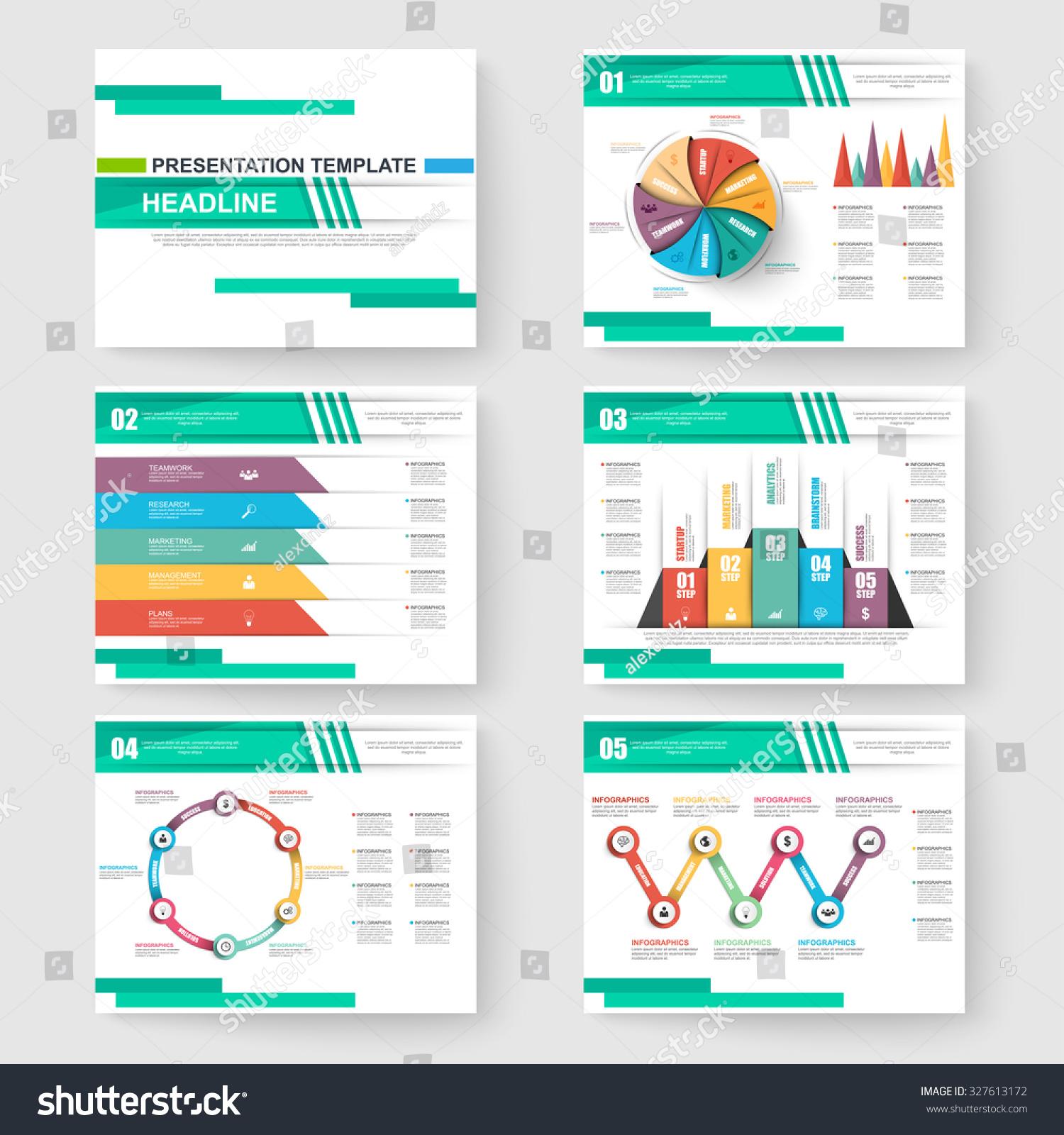 set presentation slide templates powerpoint business のベクター画像