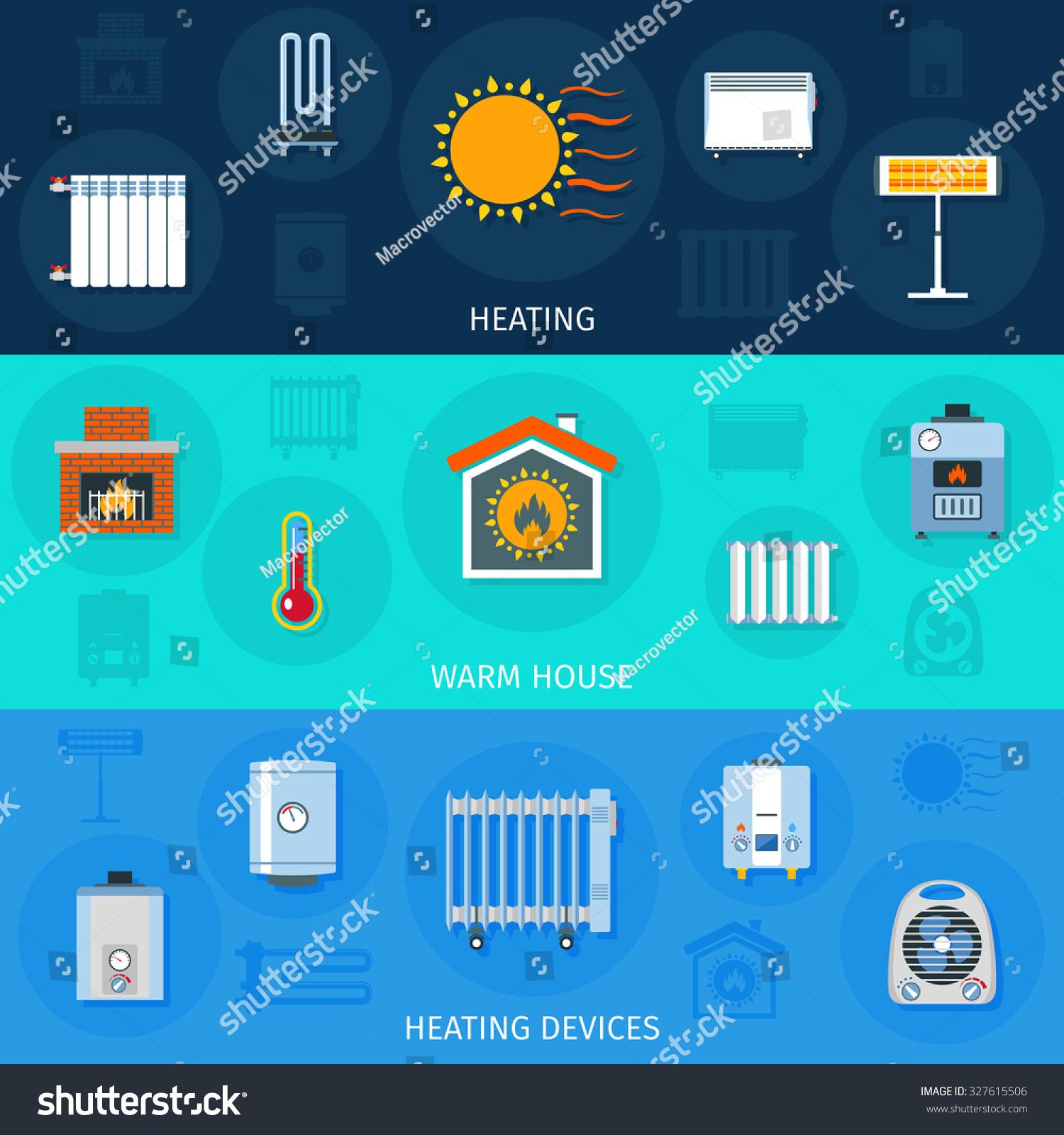 Warm House System Heating Devices Symbols Stock Illustration ...
