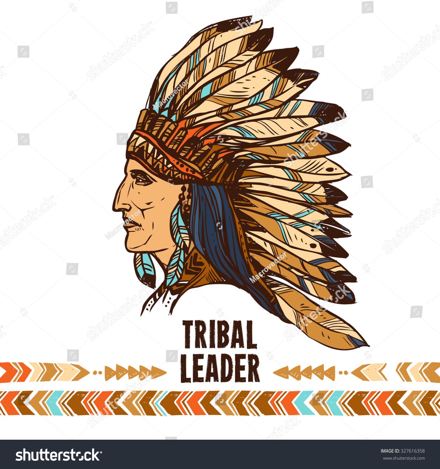 Native american apache indian profile tribal stock illustration native american apache indian profile in tribal costume sketch portrait illustration biocorpaavc
