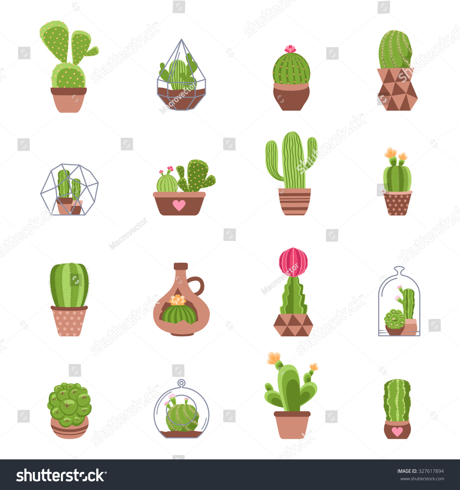 different types cactus flowers icons set stock illustration