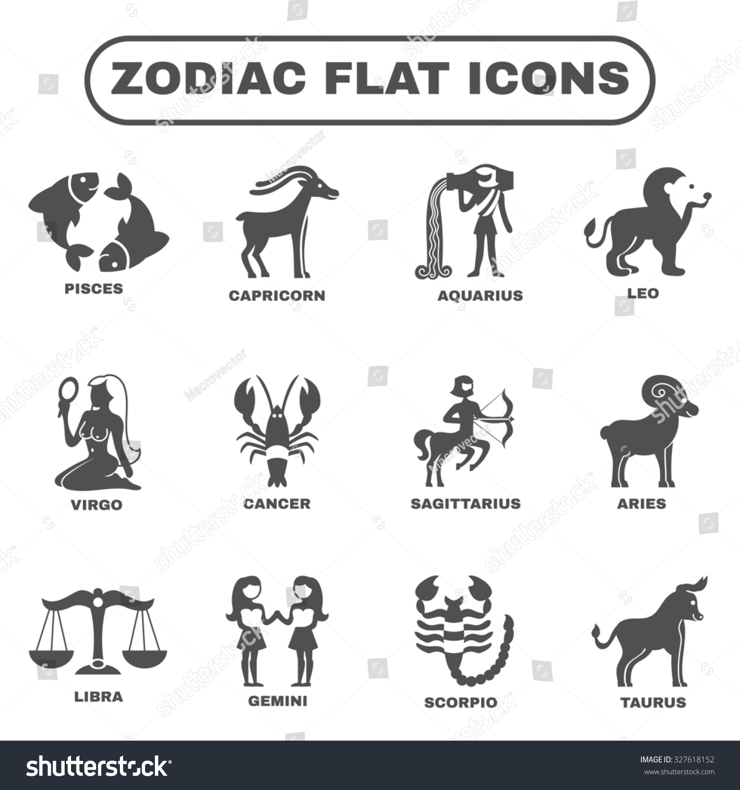 Zodiac Horoscope Symbols Black Flat Icons Stock Illustration