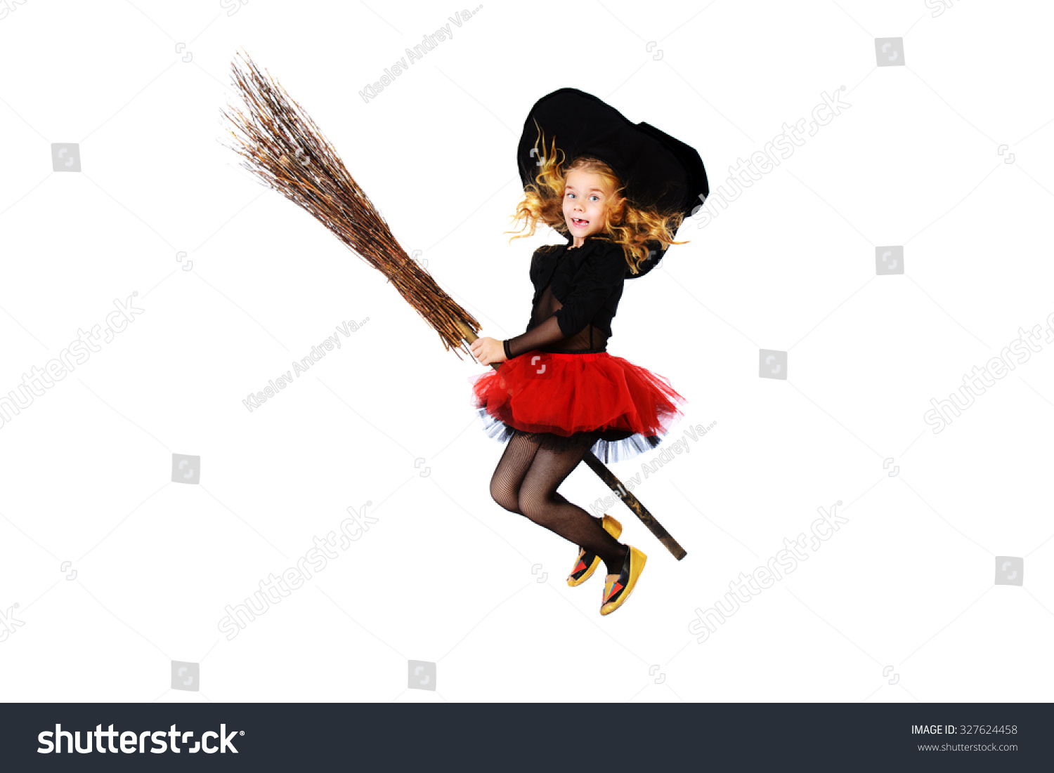 Beautiful Little Girl Witch Costume Posing Stock Photo 327624458 ...