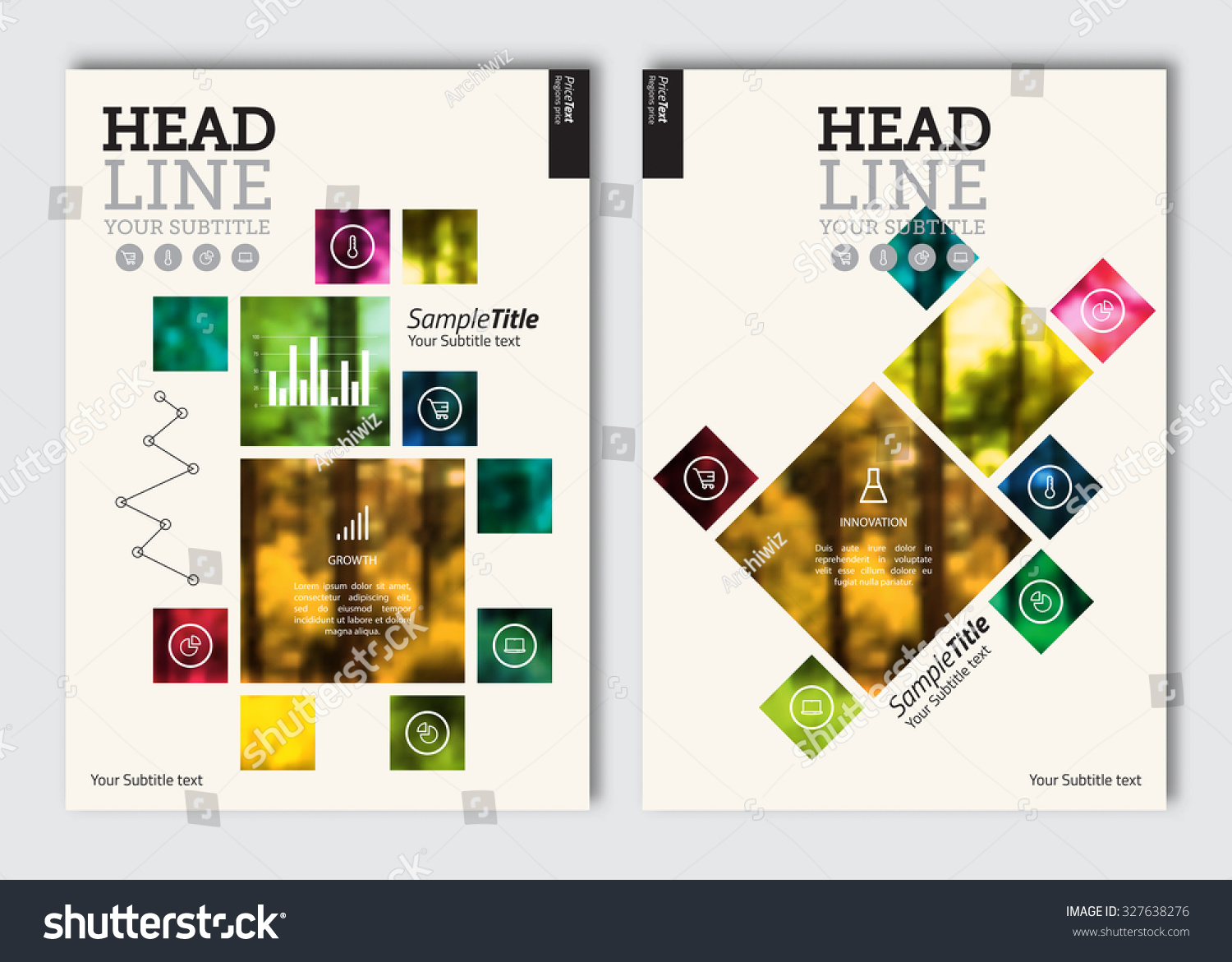 Business brochure design template. Vector flyer layout, blur ...