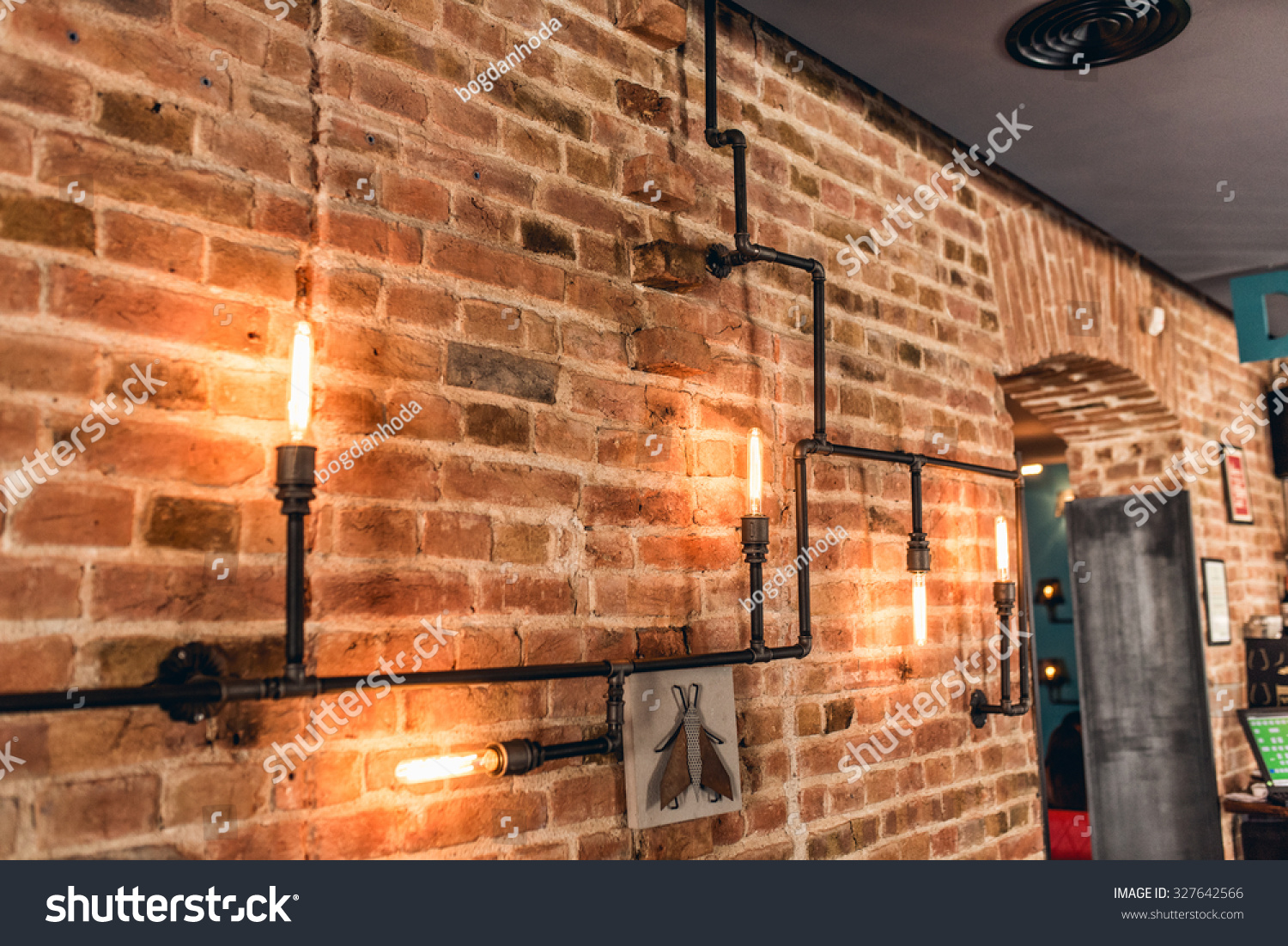 Restaurant Rustic Walls Vintage Interior Design Lamps Metal Pipes And Light Bulbs