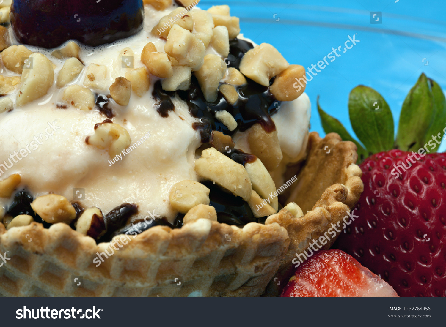 Close Up Of Vanilla Ice Cream Sundae In An Edible Waffle ... Vanilla Ice Cream In A Bowl With Chocolate Syrup