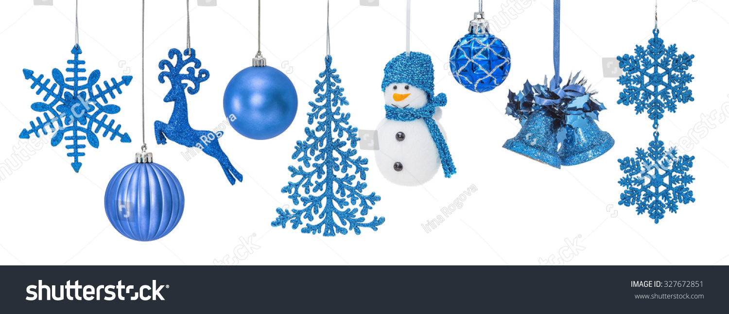 Blue Christmas New Year Baubles Christmas Stock Photo
