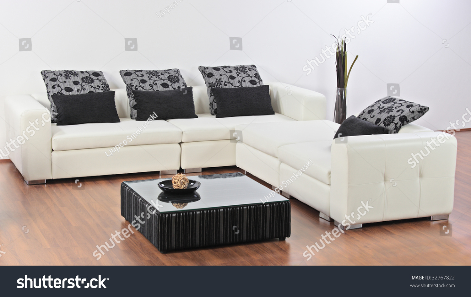 a modern minimalist living room with furniture stock photo 32767822 shutterstock. Black Bedroom Furniture Sets. Home Design Ideas