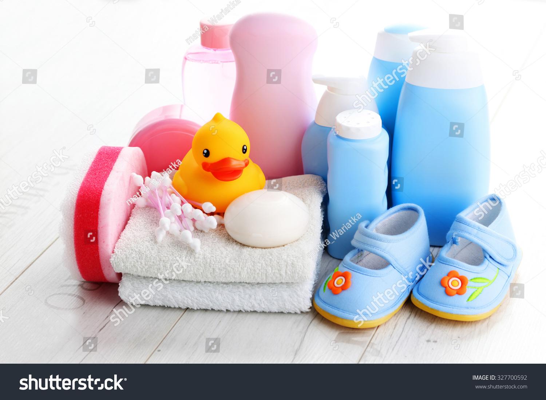 baby accessories on white wood children