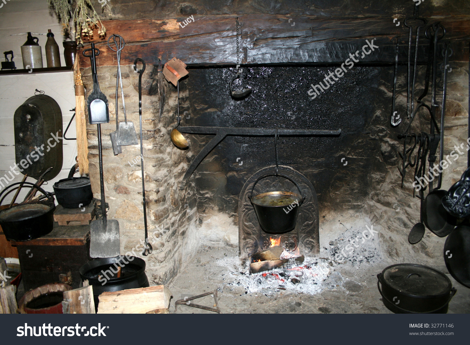 Old Kitchen Fireplace Old Kitchen Stock Photo 32771146 Shutterstock