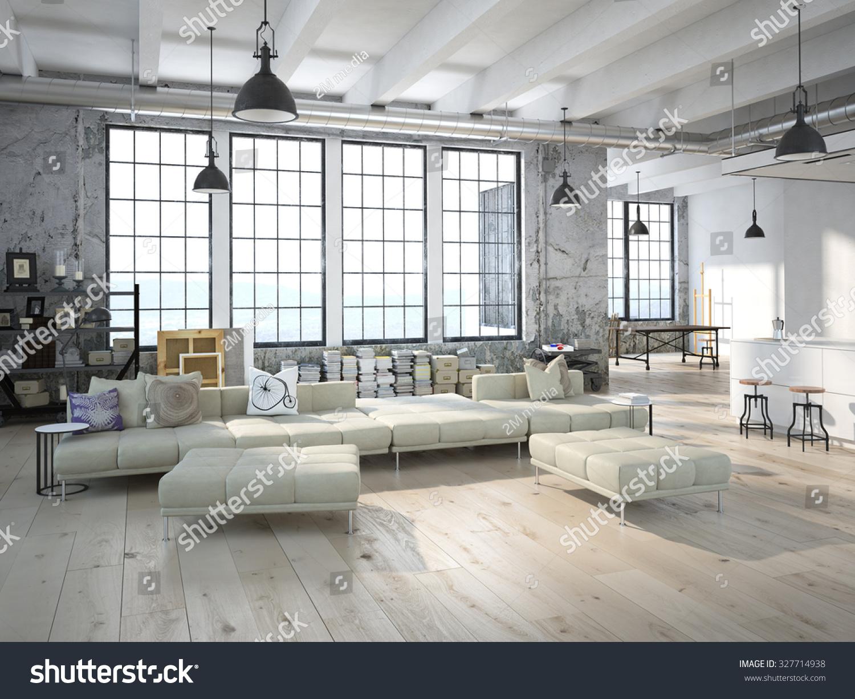 Modern Loft Kitchen Living Room 3 D Stock Illustration 327714938 ...