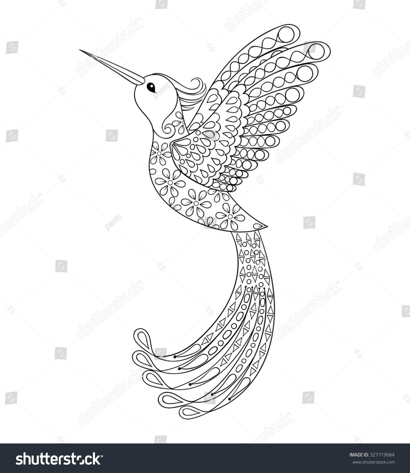 Royalty free Zentangle tribal Hummingbird flying…