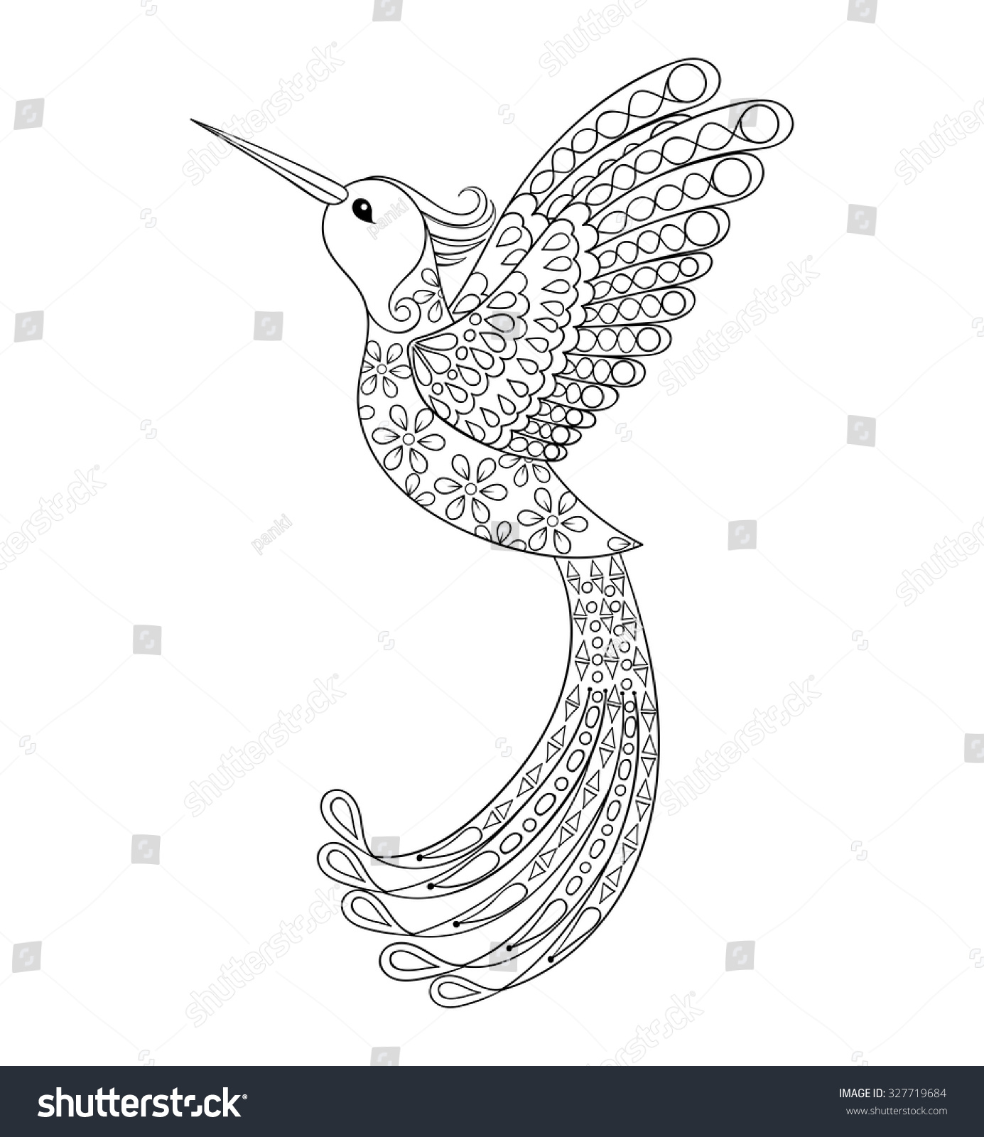 zentangle tribal hummingbird flying bird totem stock vector