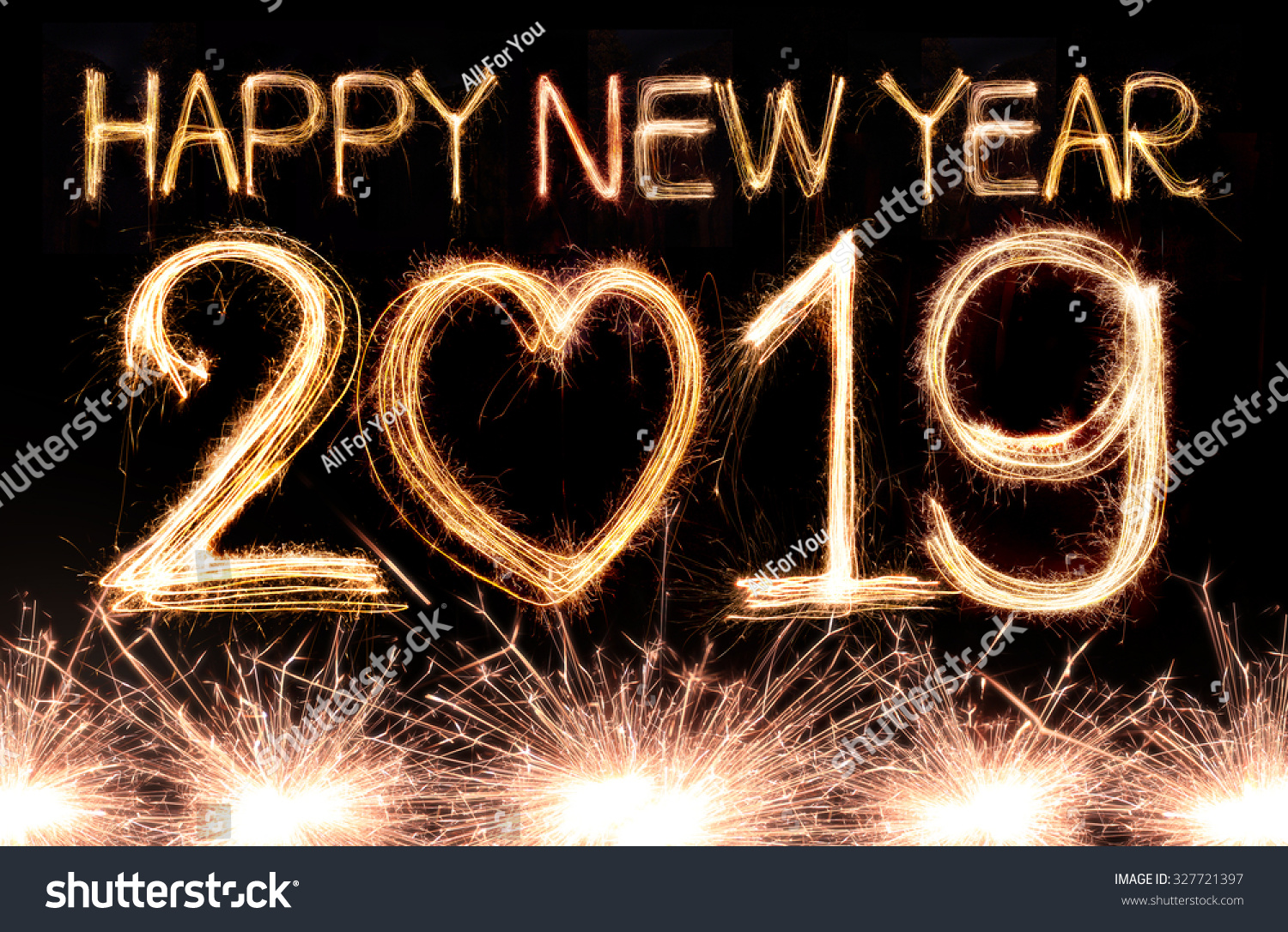Happy 2019 >> Happy New Year 2019 Written Sparkle Stock Photo Edit Now 327721397