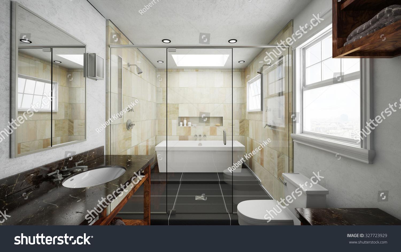 Bathroom Terracotta Tiles Bathtub Shower 3 D Stock Illustration ...