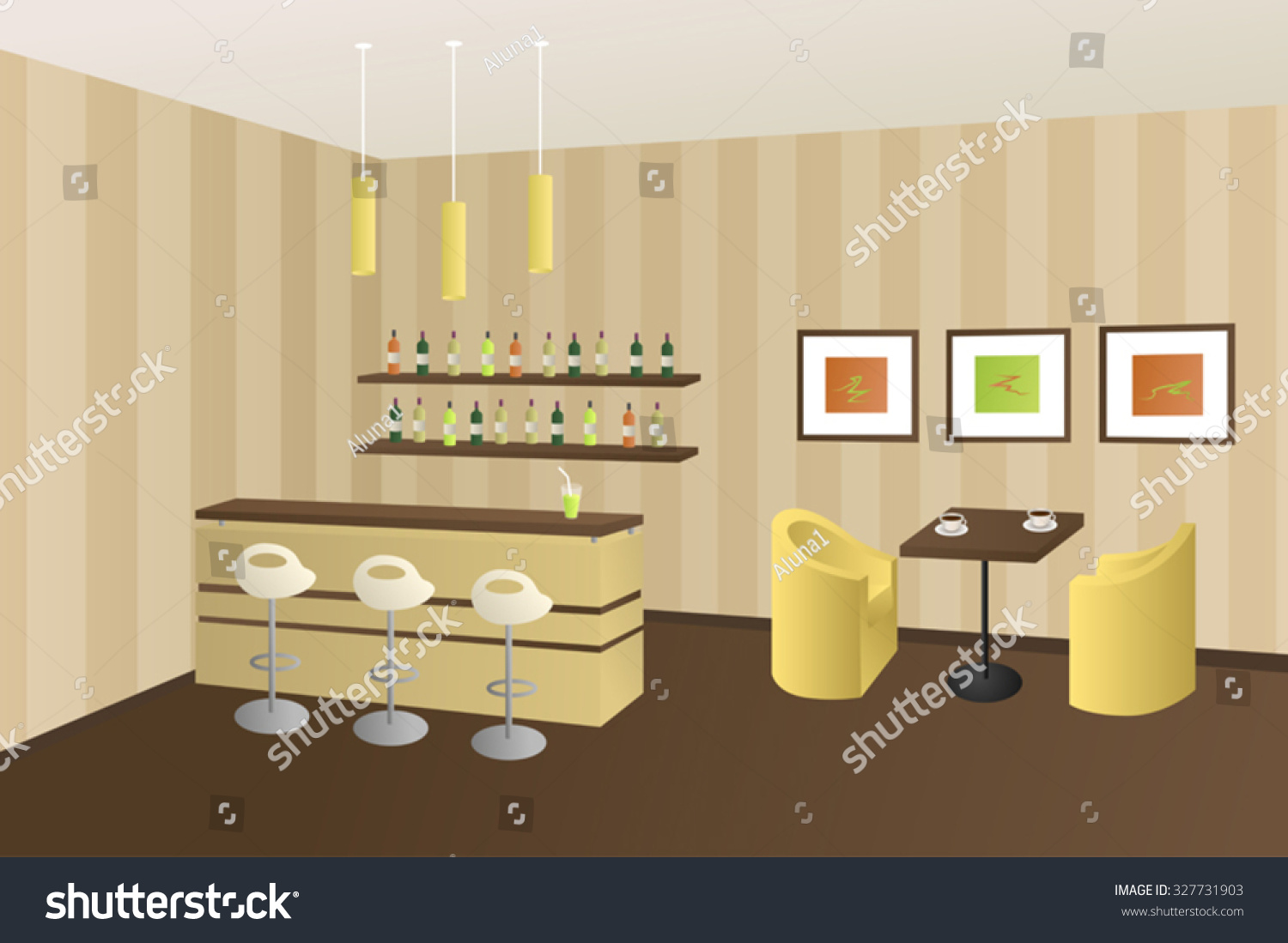 modern interior cafe coffee shop bar stock vector 327731903