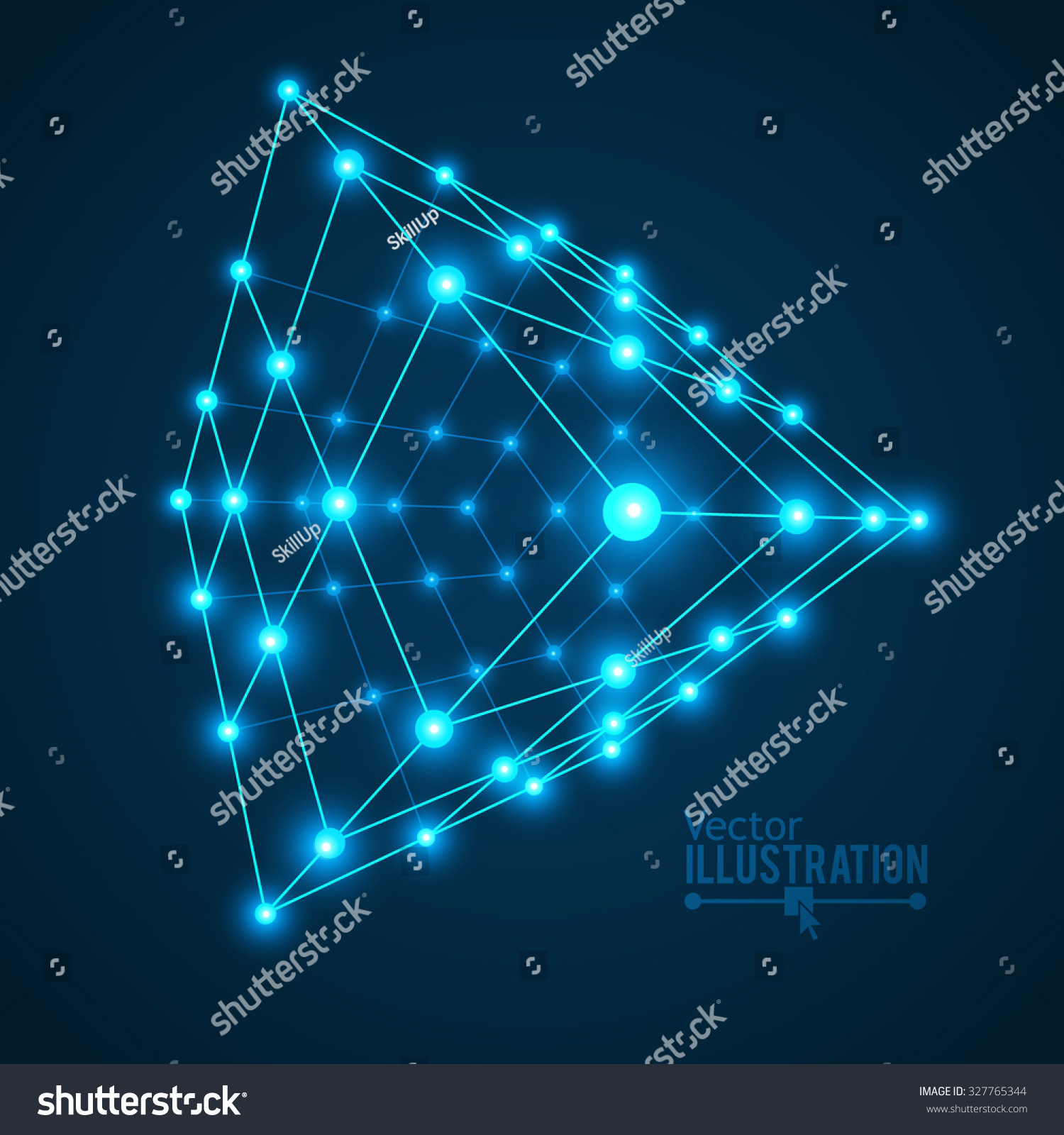 Wireframe Mesh Cube Connected Dots Lines Stock Vector (Royalty Free ...
