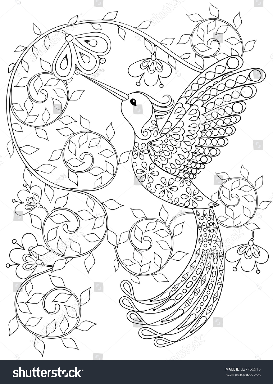 Royalty-free Coloring page with Hummingbird,… #327766916 Stock Photo ...